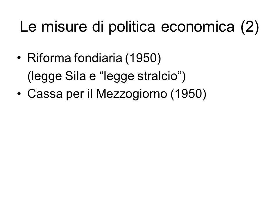 Le misure di politica economica (2)
