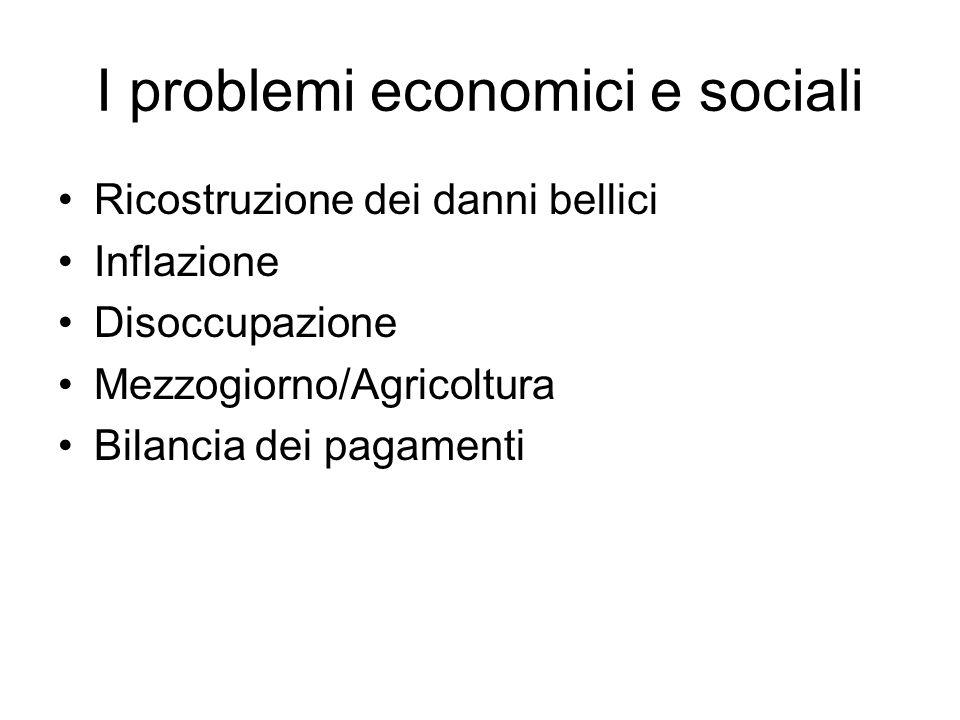 I problemi economici e sociali