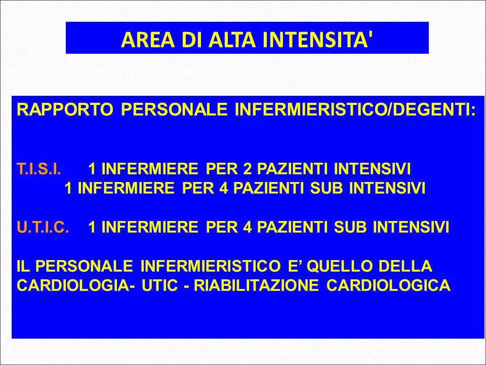 AREA DI ALTA INTENSITA RAPPORTO PERSONALE INFERMIERISTICO/DEGENTI: