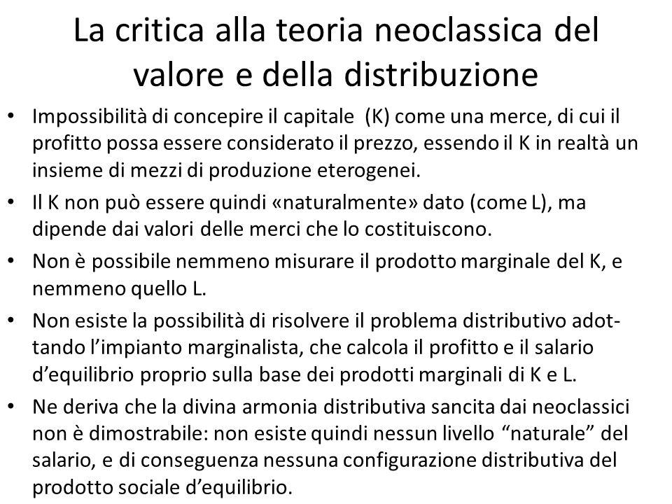 La critica alla teoria neoclassica del valore e della distribuzione