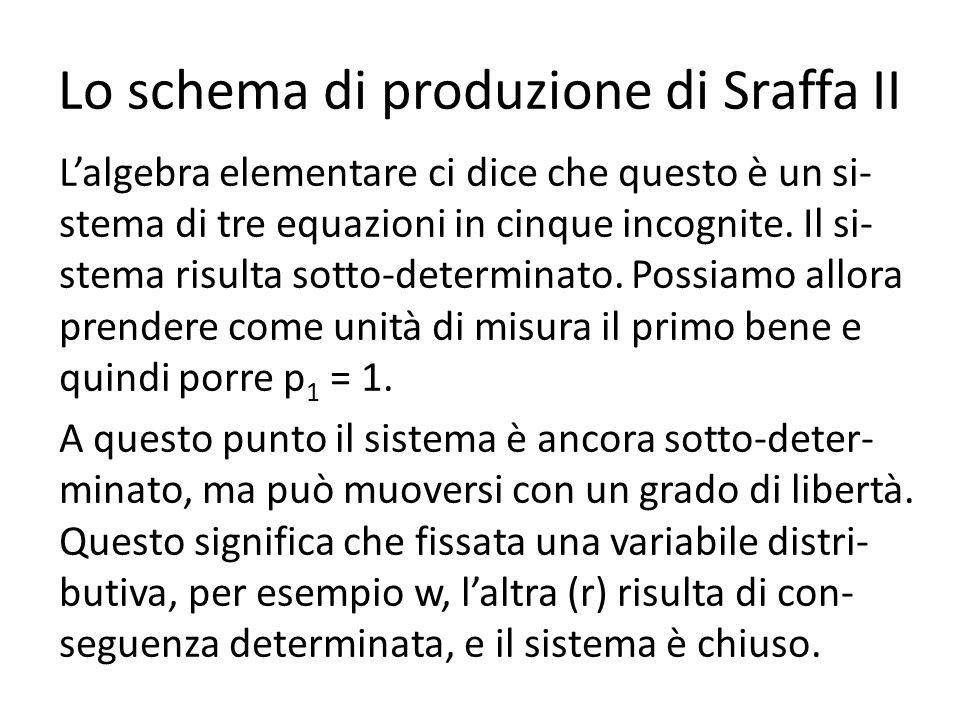 Lo schema di produzione di Sraffa II