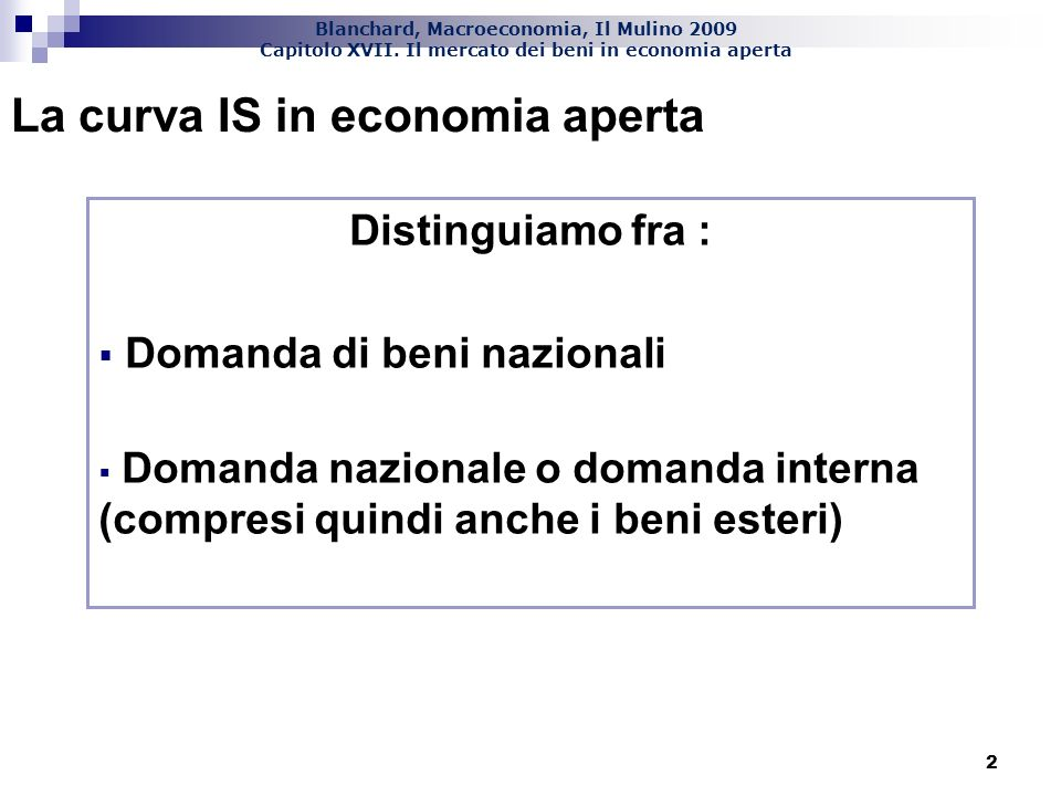 La curva IS in economia aperta