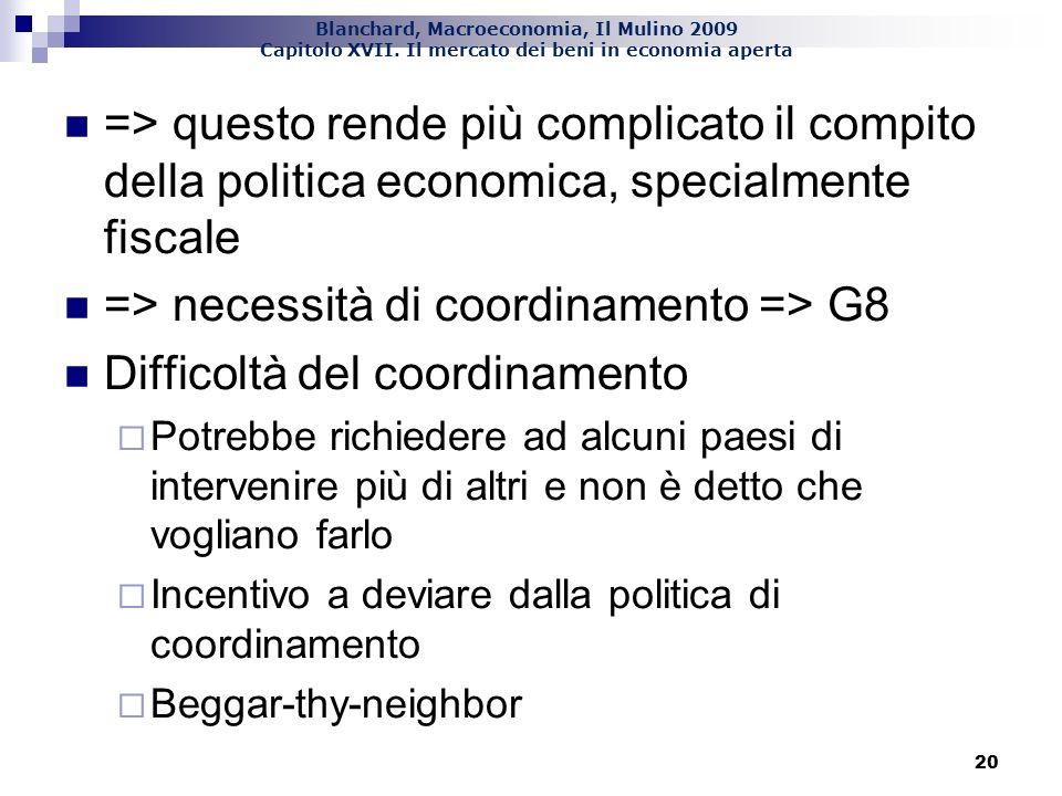 => necessità di coordinamento => G8 Difficoltà del coordinamento