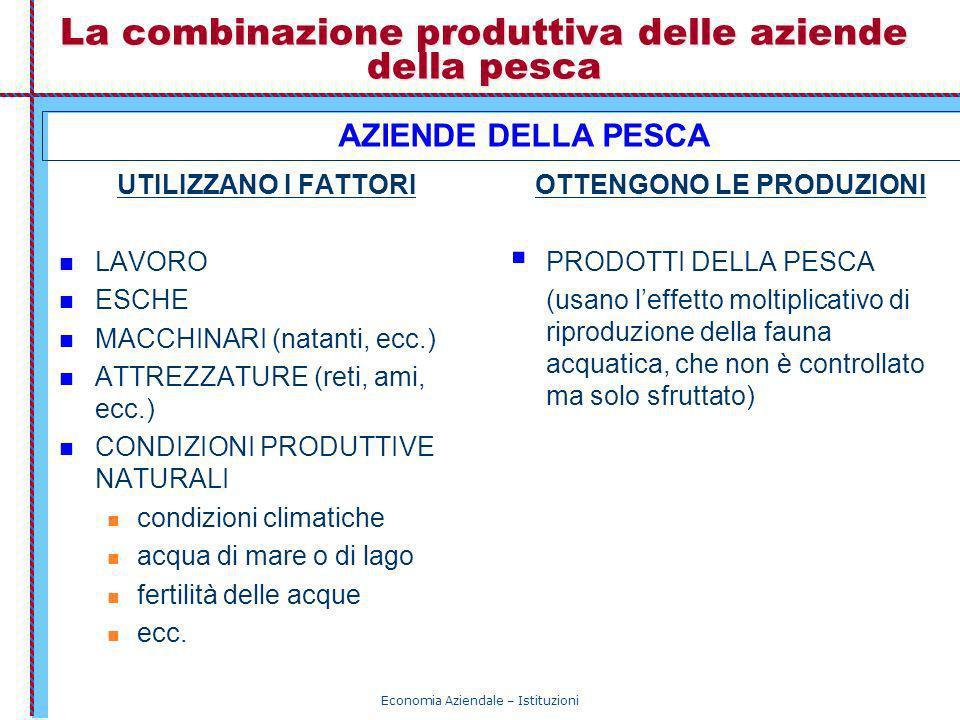 La combinazione produttiva delle aziende della pesca