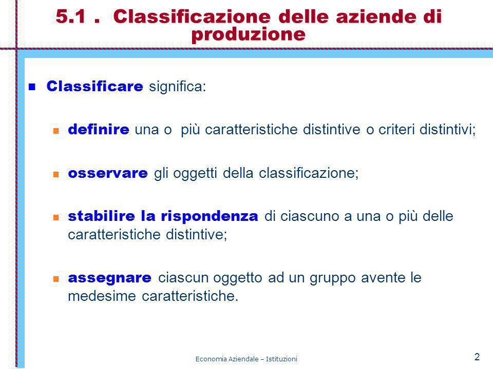 5.1 . Classificazione delle aziende di produzione