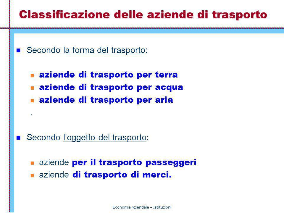 Classificazione delle aziende di trasporto