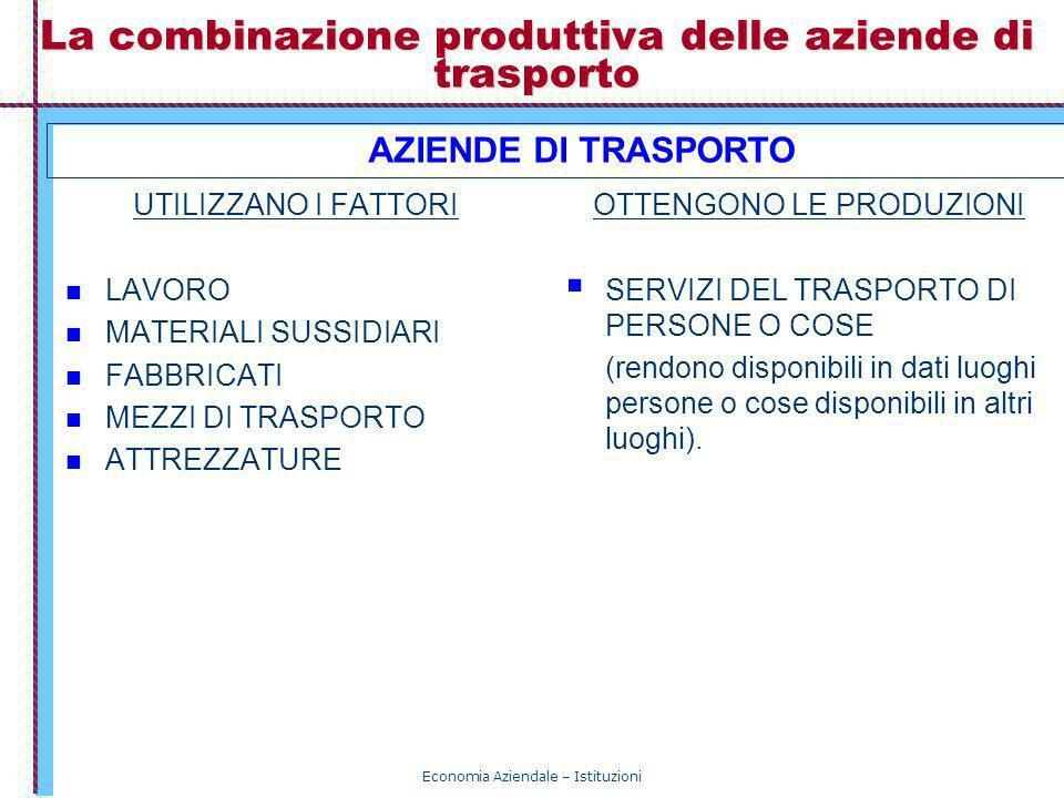 La combinazione produttiva delle aziende di trasporto