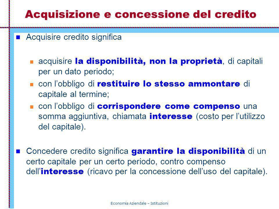Acquisizione e concessione del credito