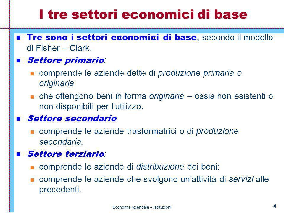 I tre settori economici di base