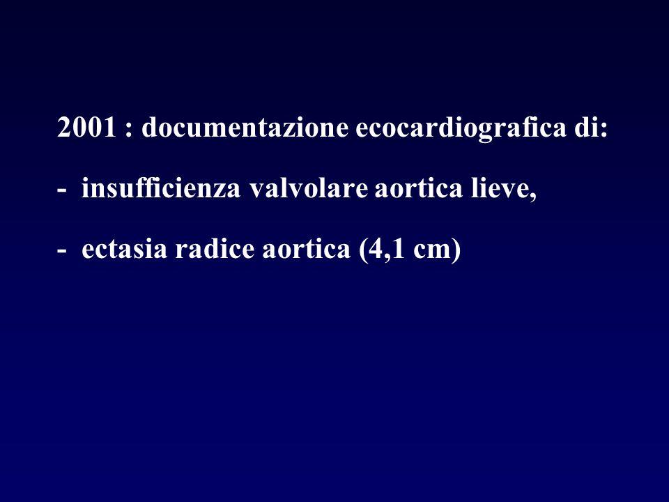 2001 : documentazione ecocardiografica di: