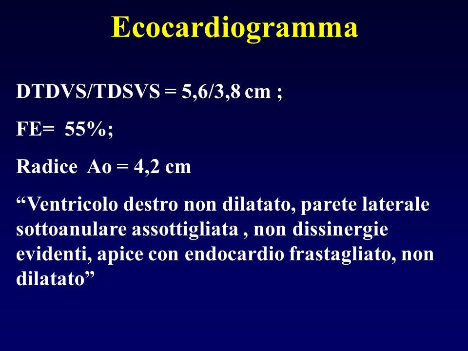 Ecocardiogramma DTDVS/TDSVS = 5,6/3,8 cm ; FE= 55%; Radice Ao = 4,2 cm