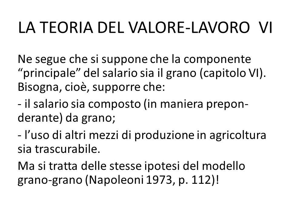 LA TEORIA DEL VALORE-LAVORO VI