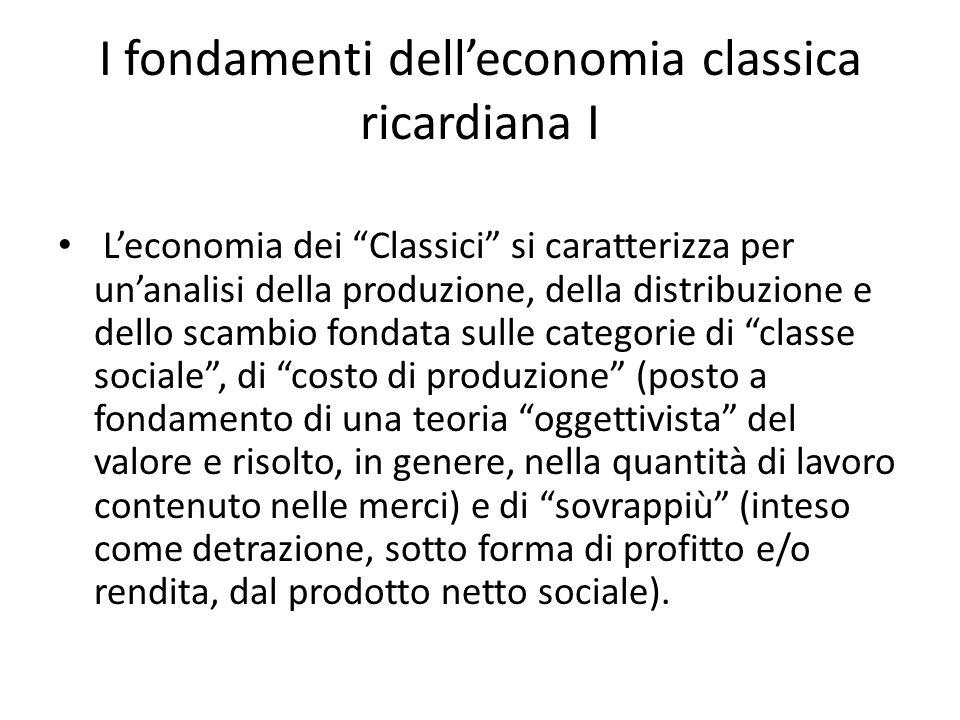 I fondamenti dell'economia classica ricardiana I