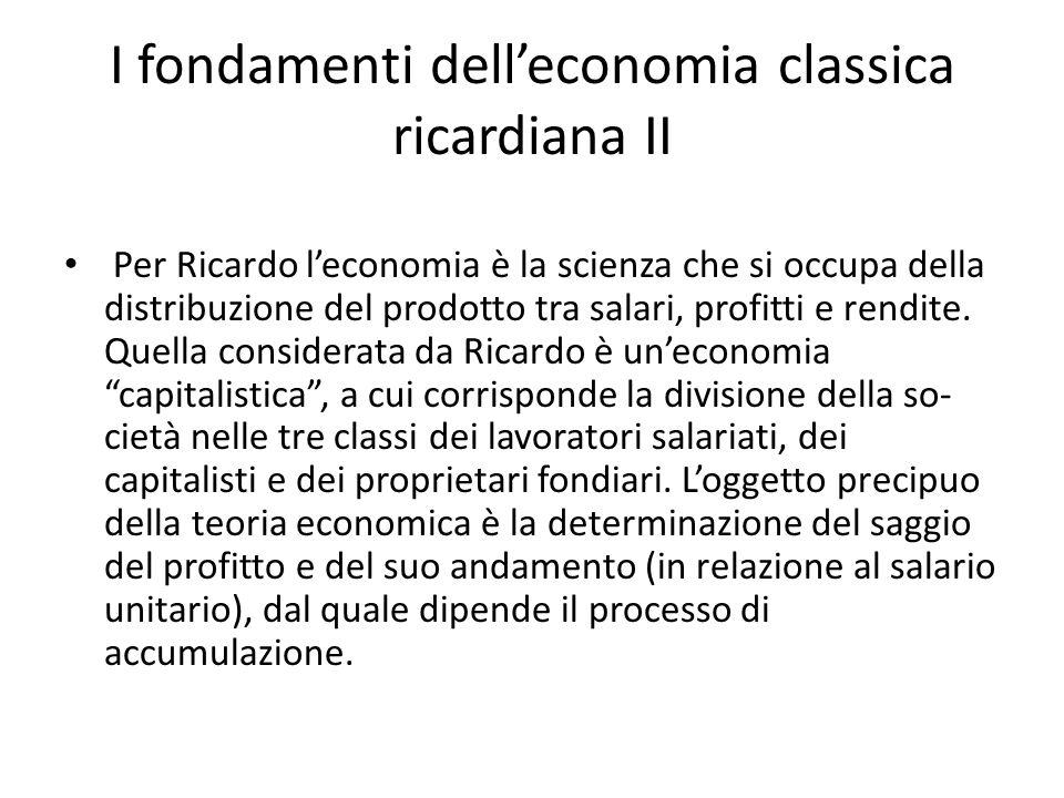 I fondamenti dell'economia classica ricardiana II