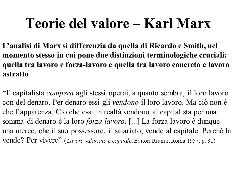 Teorie del valore – Karl Marx