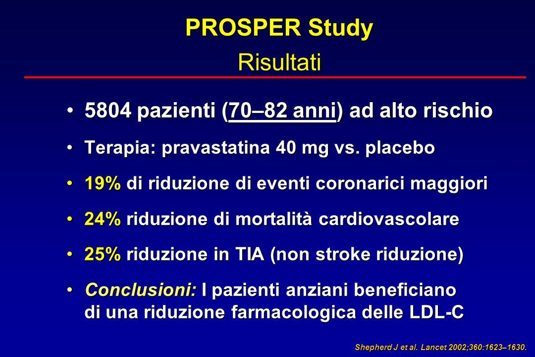 PROSPER Study Risultati 5804 pazienti (70–82 anni) ad alto rischio