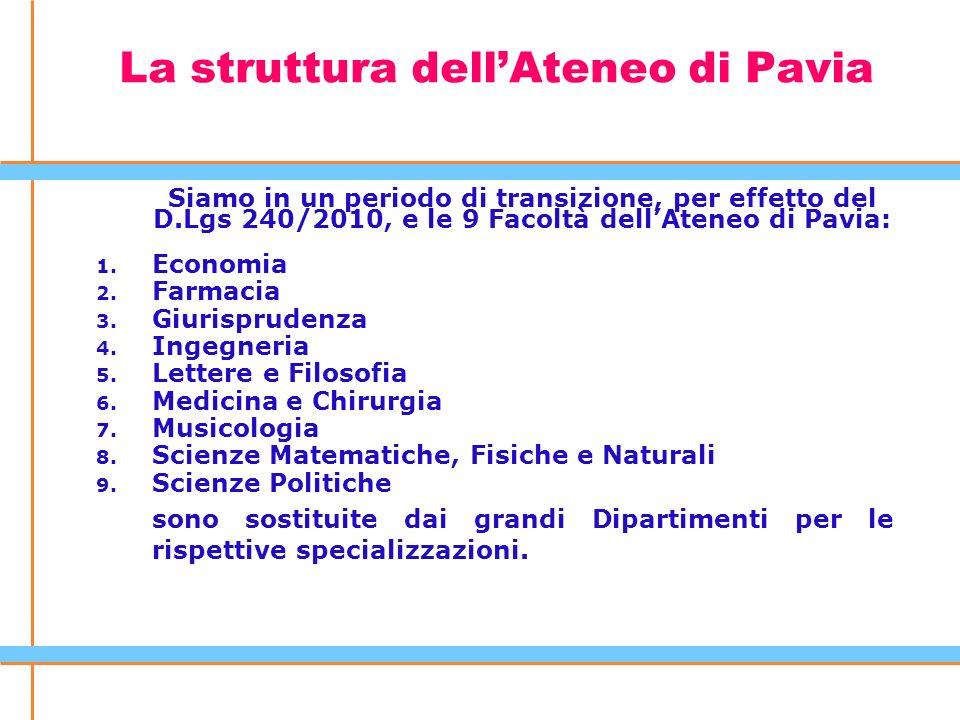 La struttura dell'Ateneo di Pavia