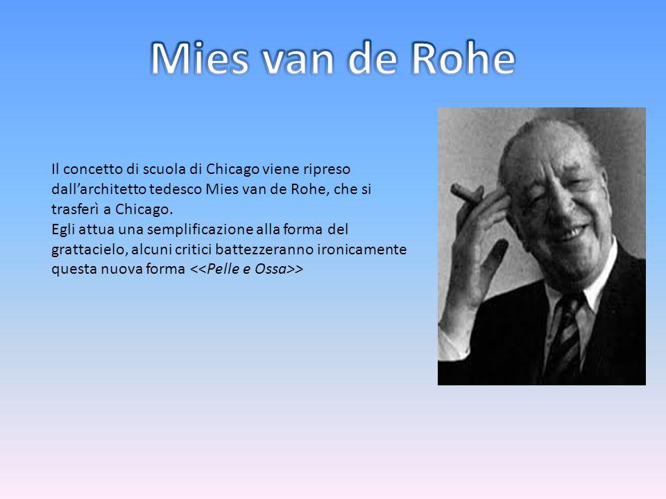 Mies van de Rohe Il concetto di scuola di Chicago viene ripreso dall'architetto tedesco Mies van de Rohe, che si trasferì a Chicago.