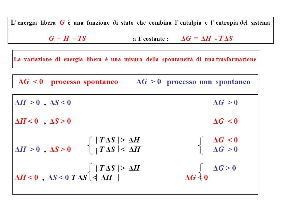 ΔG < 0 processo spontaneo ΔG > 0 processo non spontaneo