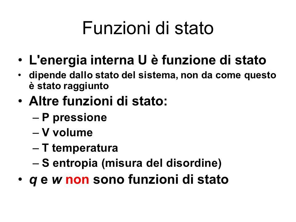 Funzioni di stato L energia interna U è funzione di stato