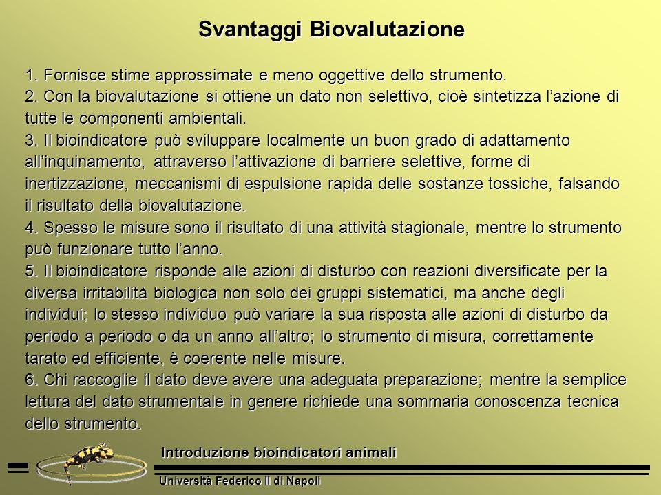 Svantaggi Biovalutazione