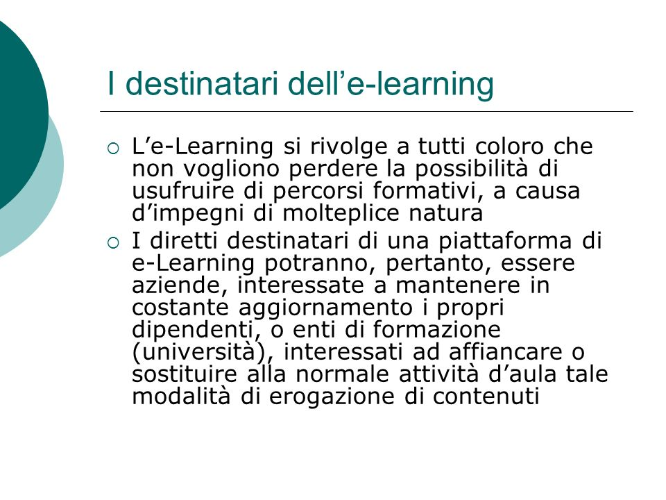 I destinatari dell'e-learning