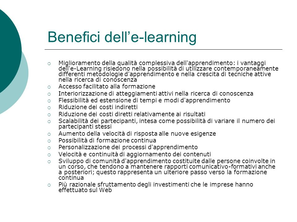 Benefici dell'e-learning
