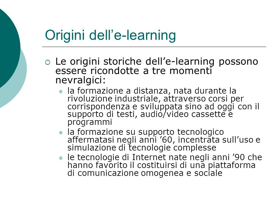 Origini dell'e-learning