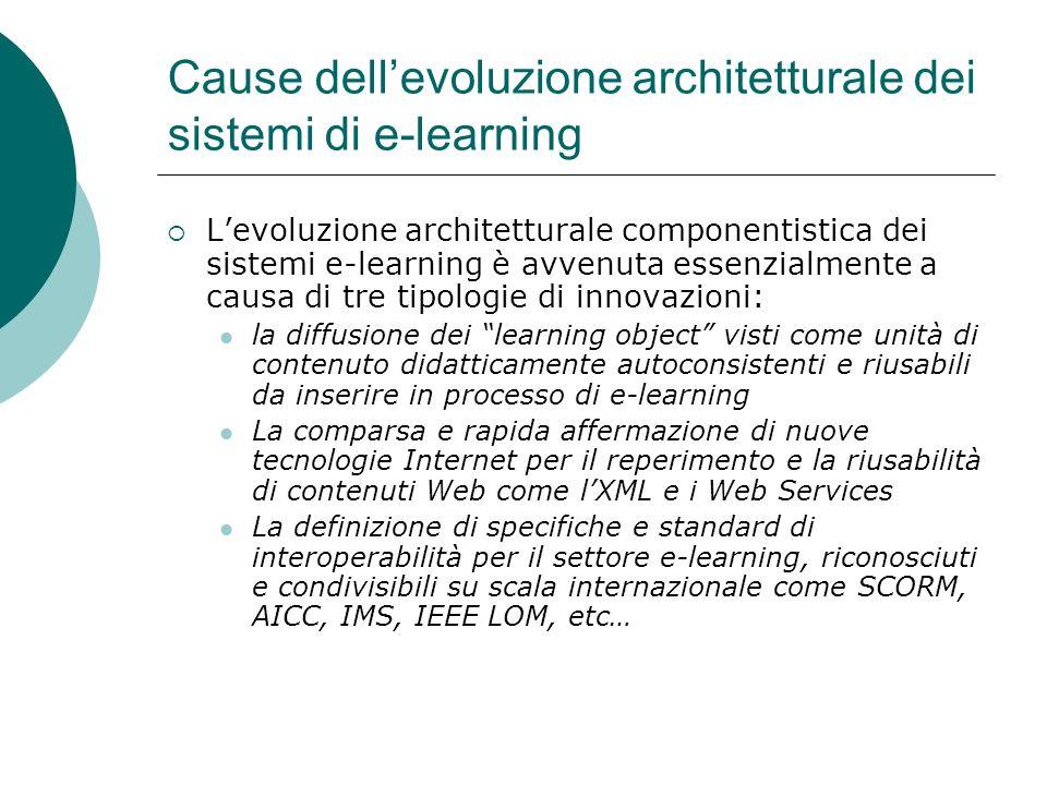 Cause dell'evoluzione architetturale dei sistemi di e-learning