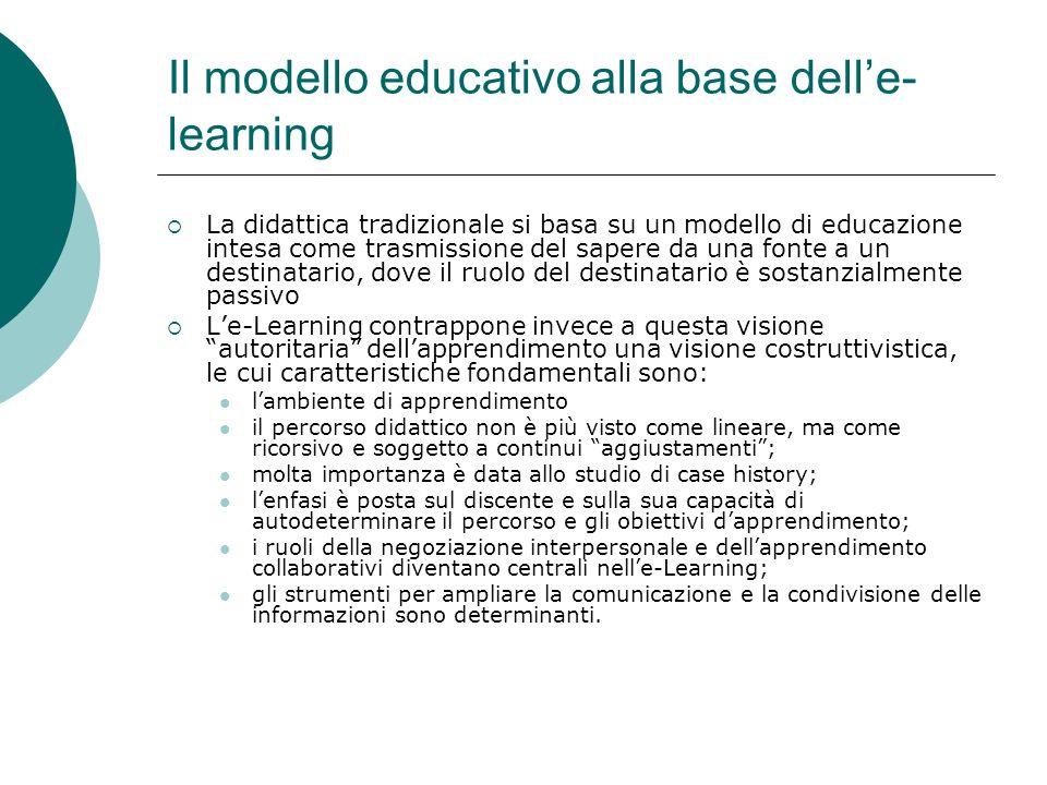 Il modello educativo alla base dell'e-learning