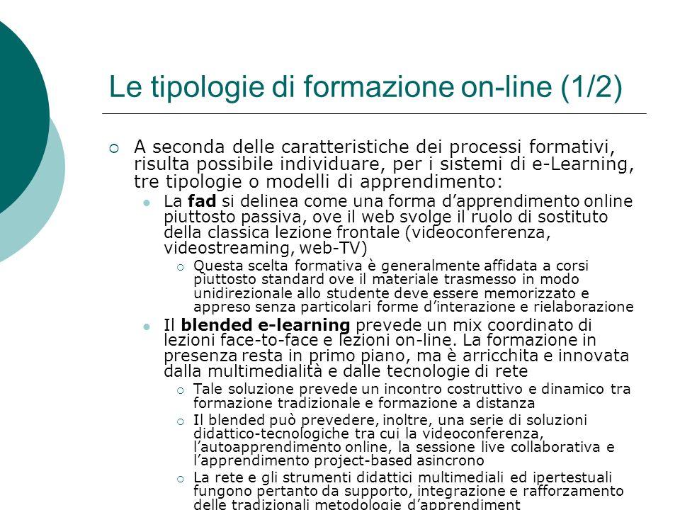Le tipologie di formazione on-line (1/2)