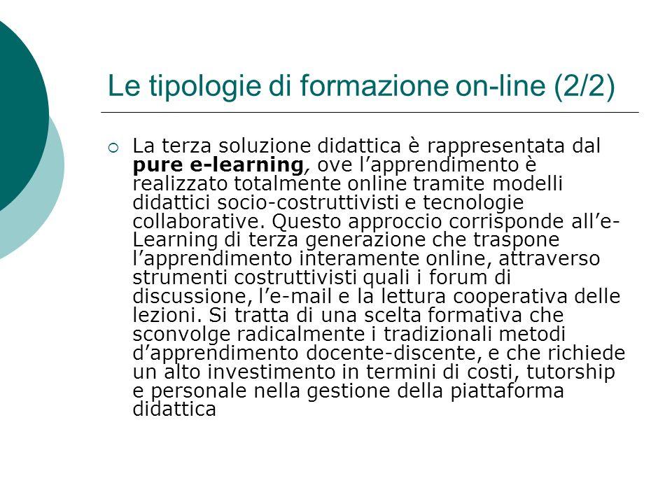 Le tipologie di formazione on-line (2/2)