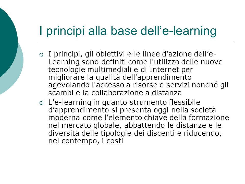 I principi alla base dell'e-learning