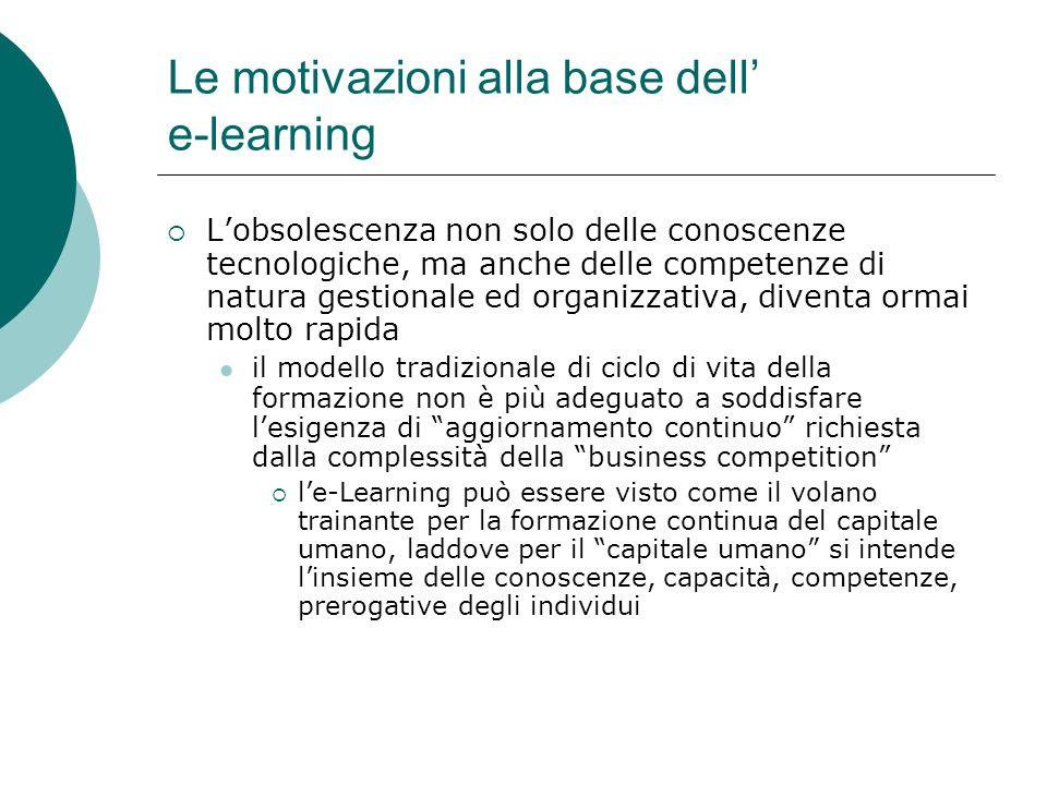 Le motivazioni alla base dell' e-learning