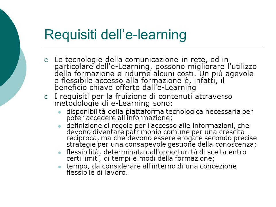 Requisiti dell'e-learning