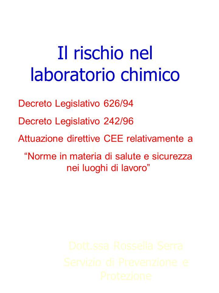 Il rischio nel laboratorio chimico