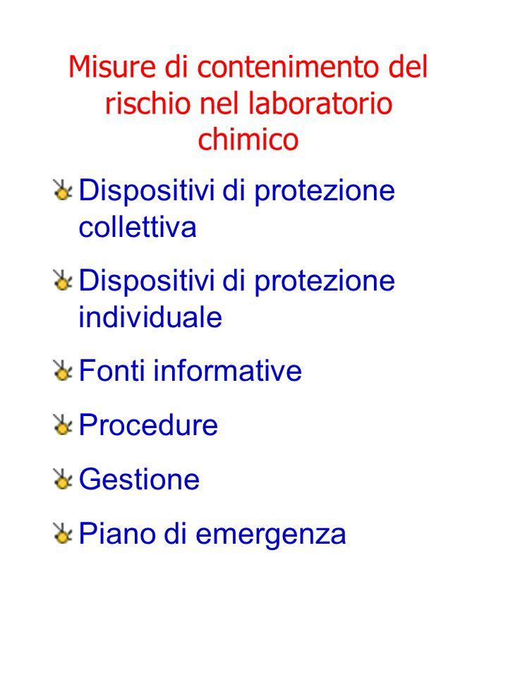 Misure di contenimento del rischio nel laboratorio chimico