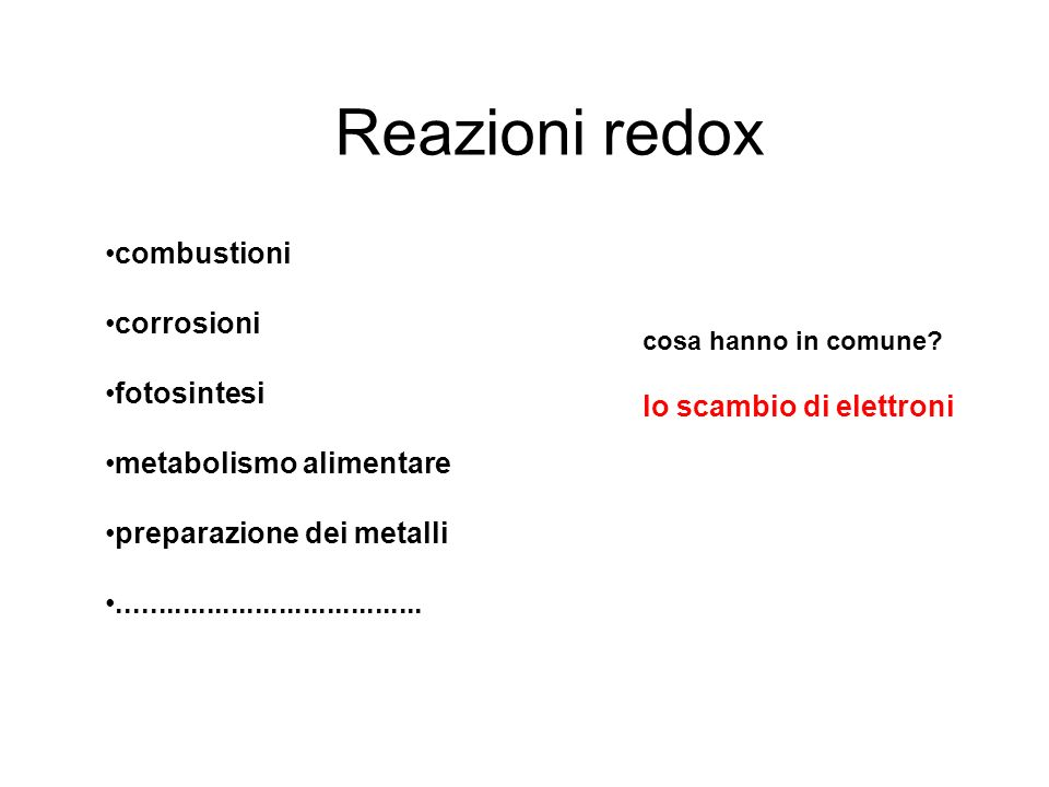 Reazioni redox combustioni corrosioni fotosintesi