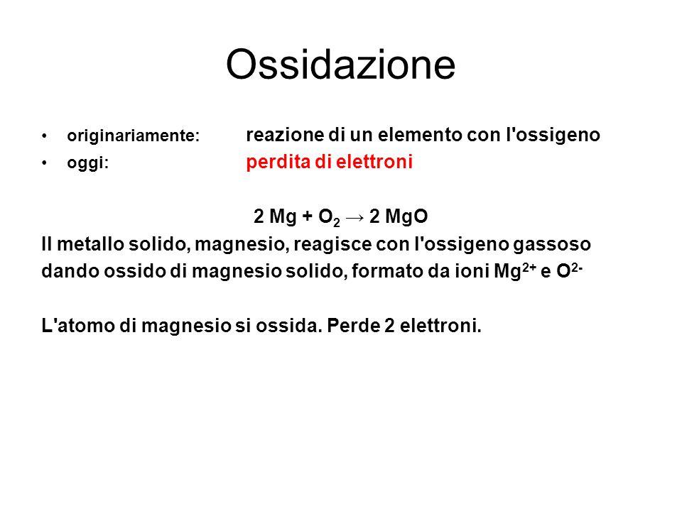 Ossidazione originariamente: reazione di un elemento con l ossigeno. oggi: perdita di elettroni.