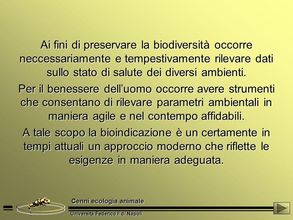 Ai fini di preservare la biodiversità occorre neccessariamente e tempestivamente rilevare dati sullo stato di salute dei diversi ambienti.