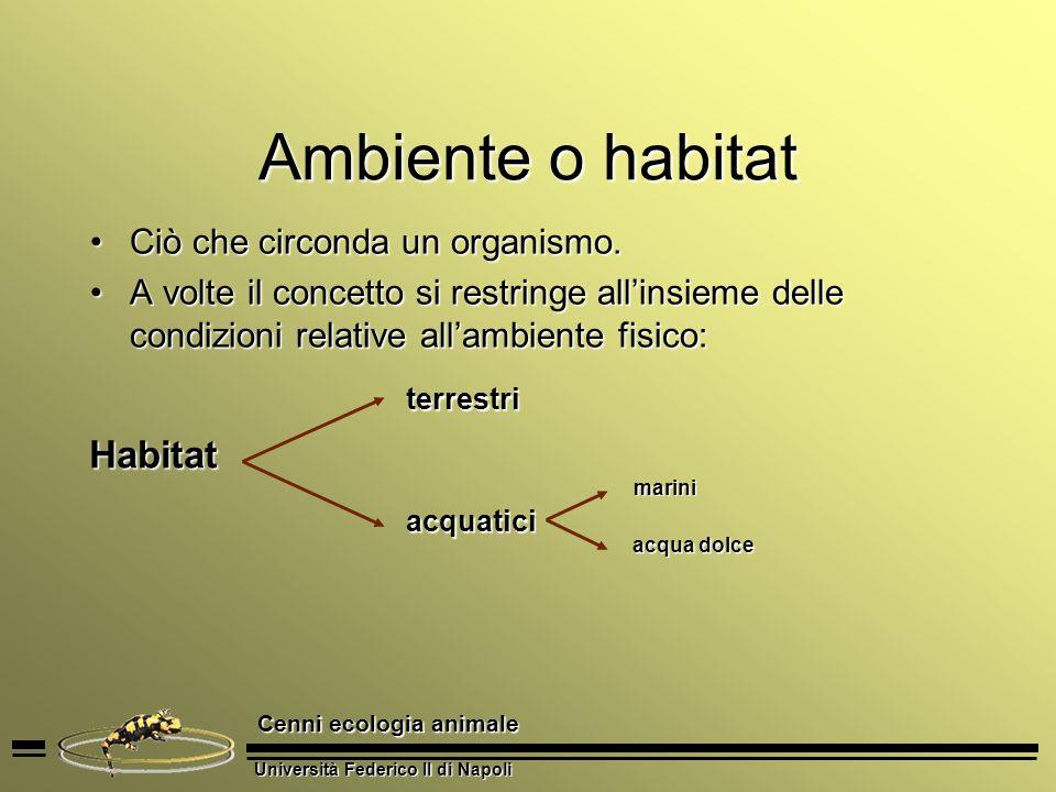 Ambiente o habitat Habitat Ciò che circonda un organismo.