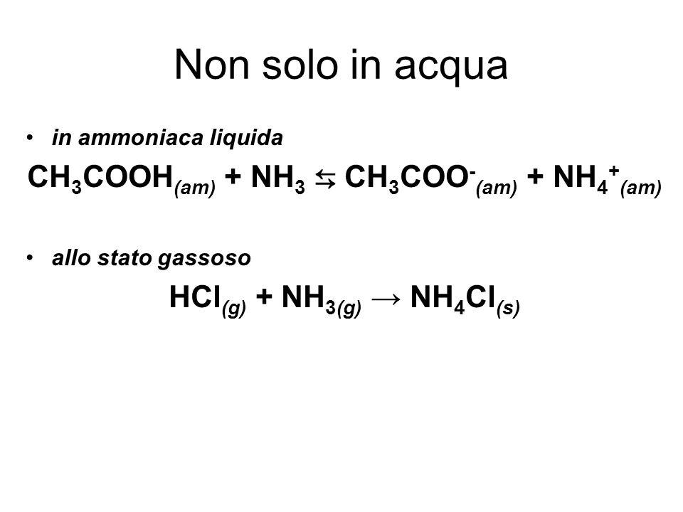 CH3COOH(am) + NH3 ⇆ CH3COO-(am) + NH4+(am) HCl(g) + NH3(g) → NH4Cl(s)