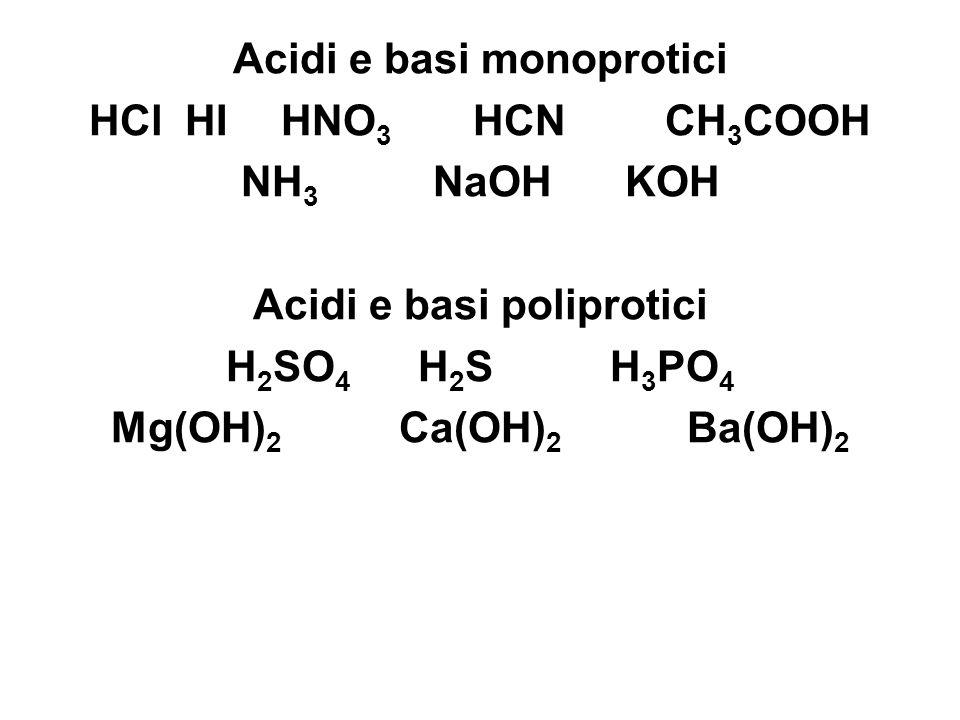 Acidi e basi monoprotici Acidi e basi poliprotici