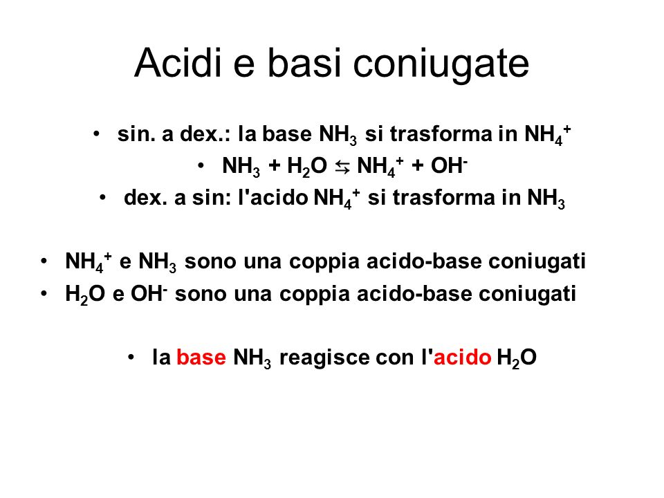 Acidi e basi coniugate sin. a dex.: la base NH3 si trasforma in NH4+