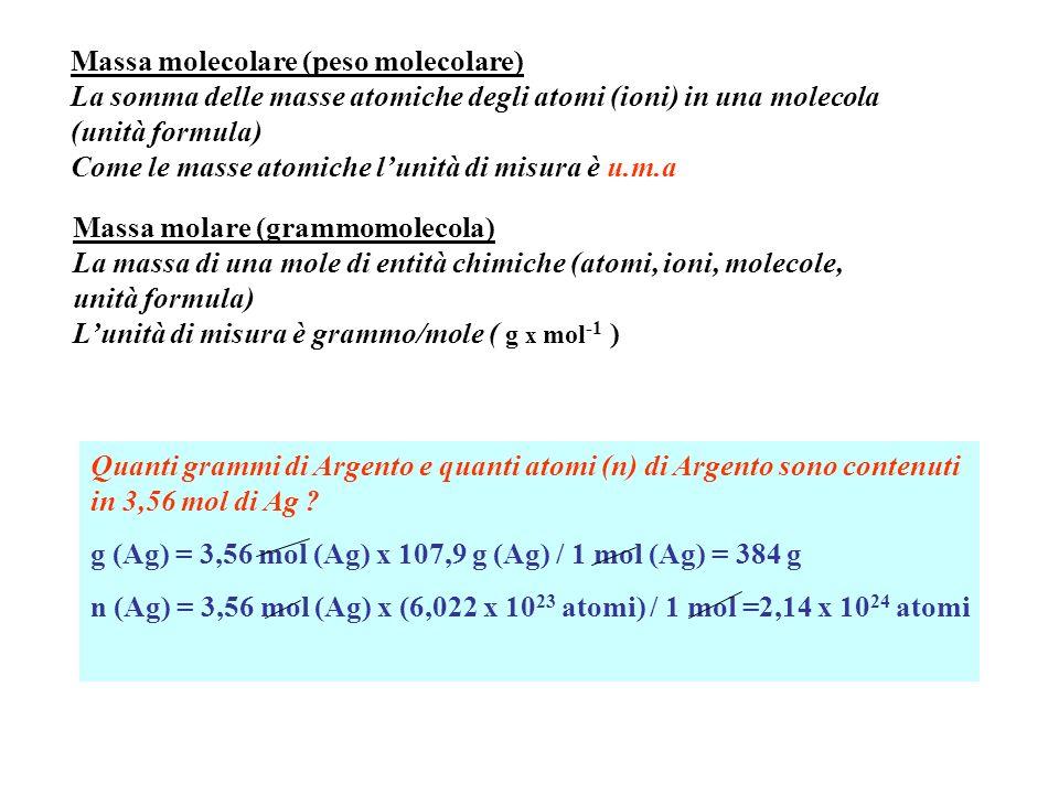 Massa molecolare (peso molecolare)