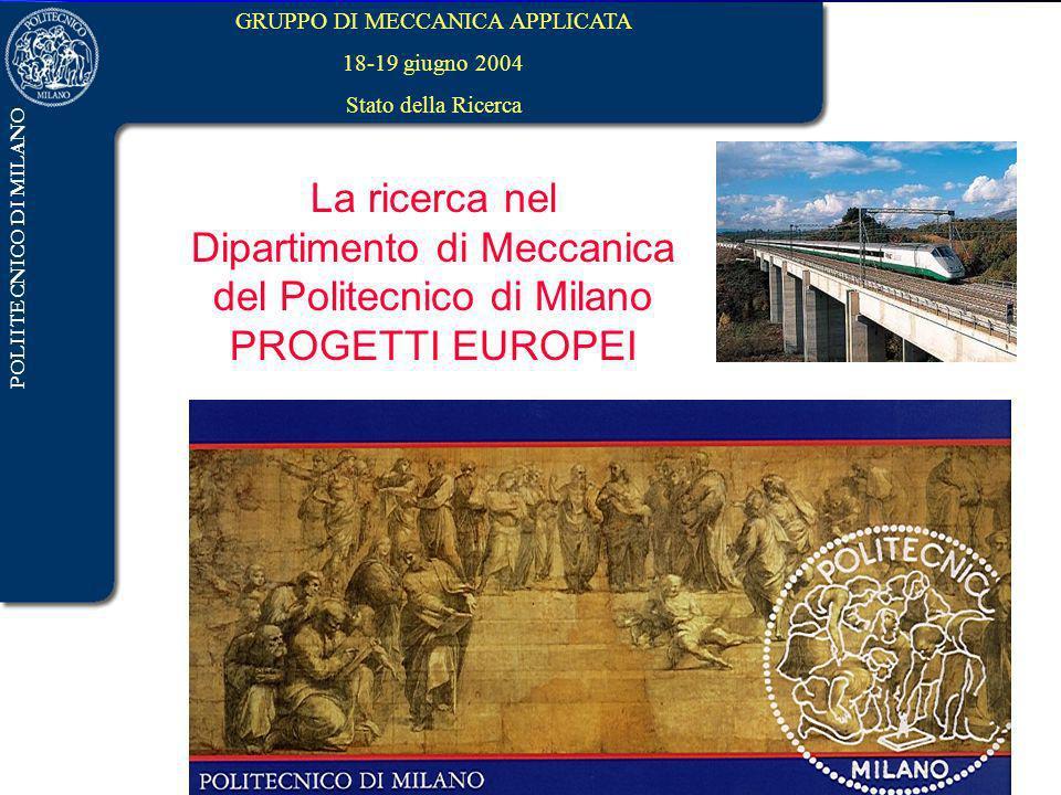 Dipartimento di Meccanica del Politecnico di Milano PROGETTI EUROPEI