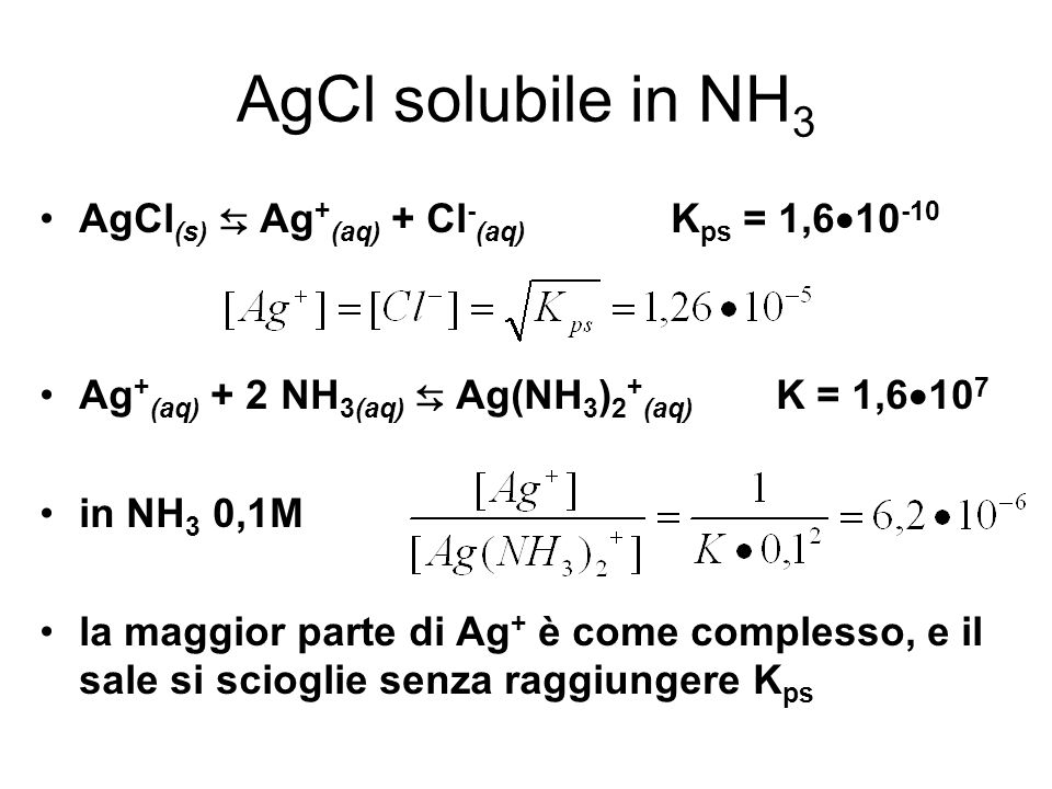 AgCl solubile in NH3 AgCl(s) ⇆ Ag+(aq) + Cl-(aq) Kps = 1,610-10