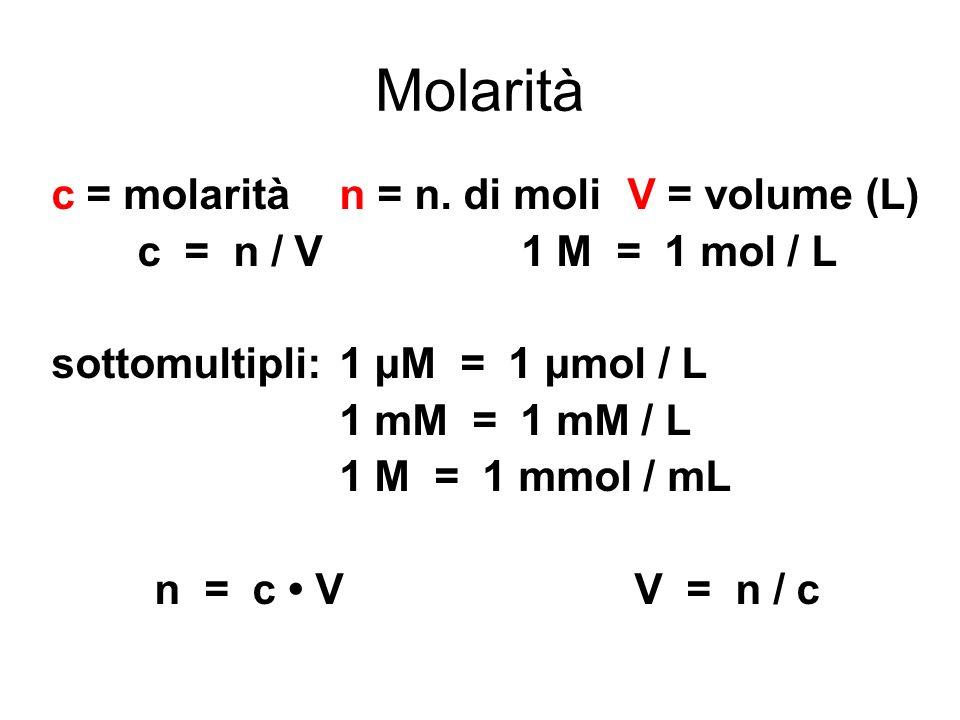 Molarità c = molarità n = n. di moli V = volume (L)