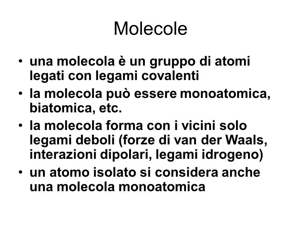 Molecole una molecola è un gruppo di atomi legati con legami covalenti
