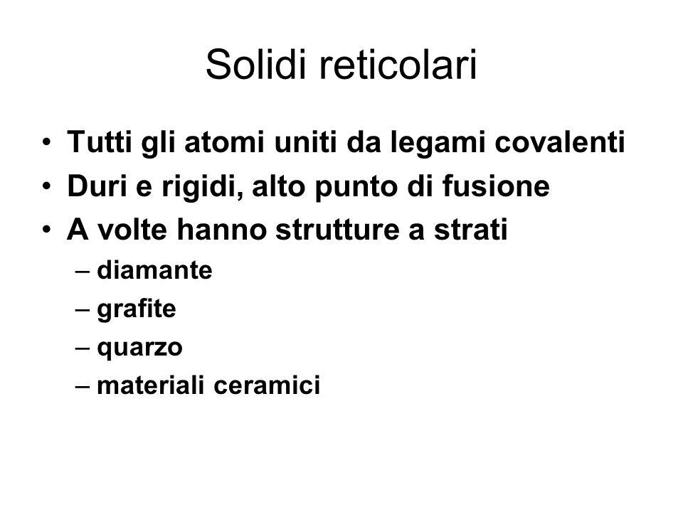 Solidi reticolari Tutti gli atomi uniti da legami covalenti